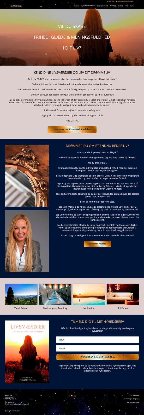 Design udkast lavet over forsiden af hjemmesiden soulutionhouse.dk